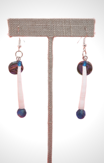 Dentalium Earrings with Abalone