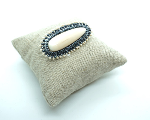 Beaded Ivory Brooch