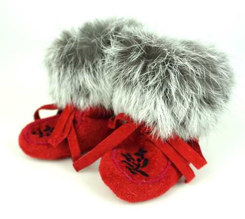 Red Leather & Rabbit Fur Booties