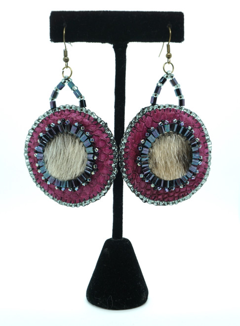 Salmon Skin and Seal Earrings