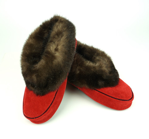 Sea Otter Fur & Red Leather Slippers