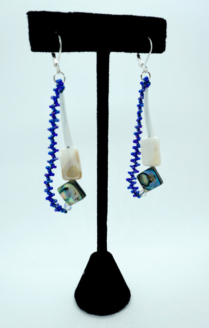 Beaded Dentalium Tassel Earrings