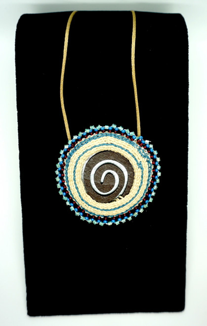 Woven Spiral Pendant with Blue Beads