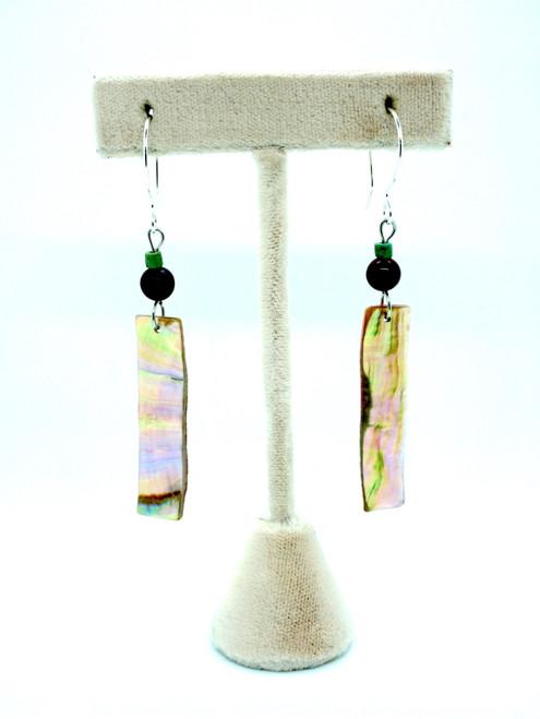 Carnelian, Turquoise & Abalone Rectangle Earrings