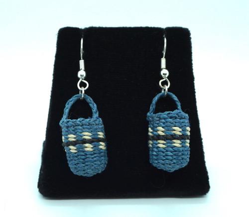 Blue Basket Earrings