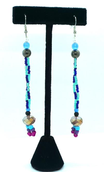 Long Blue & Teal Beaded Earrings