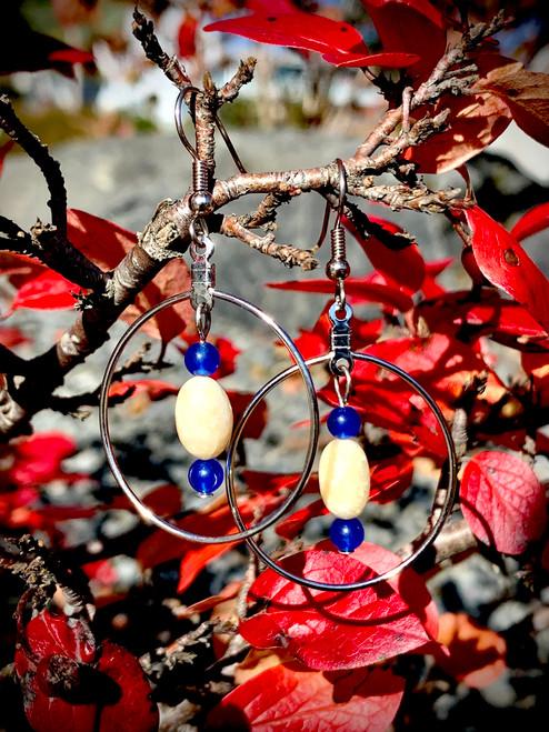 Ivory & Czech Glass Earrings