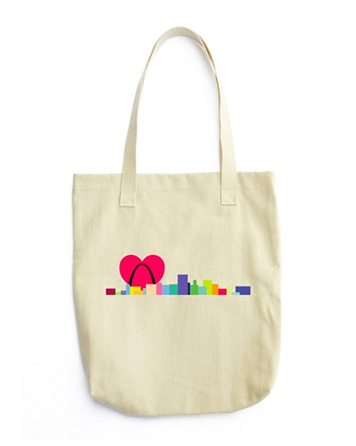Denim Woven Cotton Tote - Heart Skyline