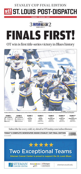 St. Louis Post-Dispatch Back Issue: May 30 Stanley Cup Final Edition