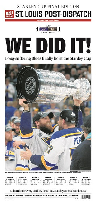 St. Louis Post-Dispatch Front Page Poster for June 13th Stanley Cup Final Edition