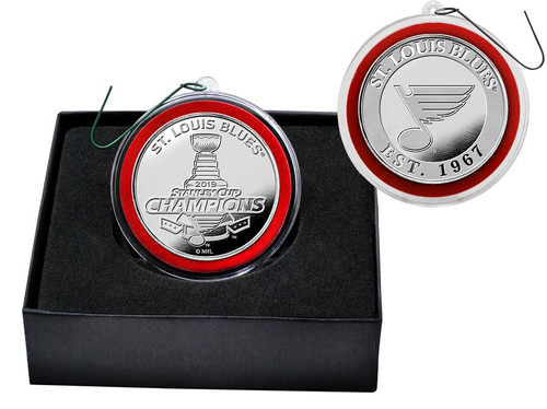 St. Louis Blues 2019 Stanley Cup Champions Silver Mint Coin Ornament