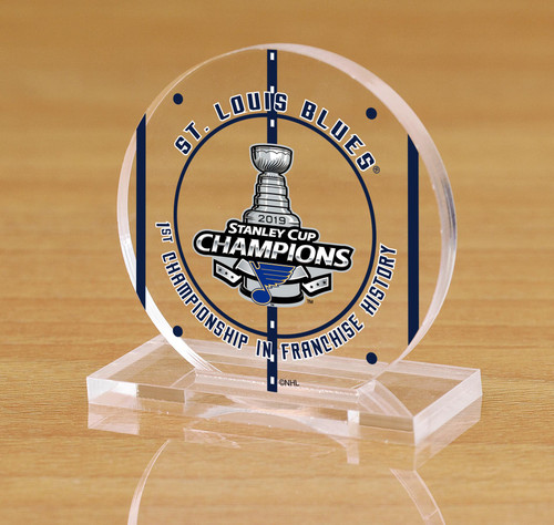 St. Louis Blues 2019 Stanley Cup Champions Etched Acrylic Puck