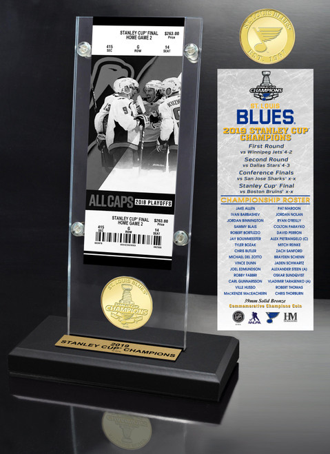 St. Louis Blues 2019 Stanley Cup Champions Ticket & Bronze Coin Acrylic Desk Top