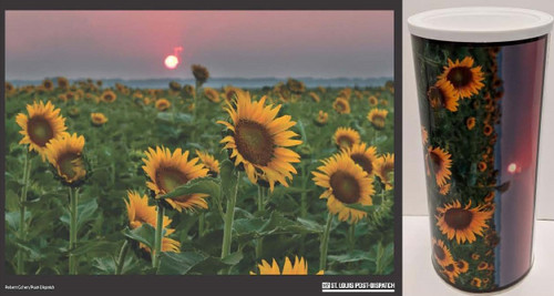 432-piece jigsaw puzzle image and resealable can, capturing the sun setting among the sunflowers in a field at the Columbia Bottom Conservation Area in Spanish Lake, MO. Completed size is 24x18.