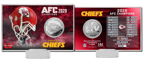 Kansas City Chiefs 2020 AFC Champs Silver Coin Card