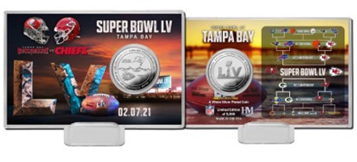 Kansas City Chiefs vs. Tampa Bay Buccaneers Super Bowl 55 Dueling Silver Flip Coin Card