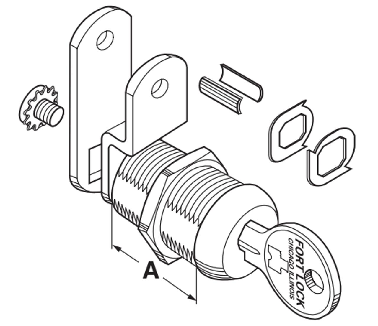 "STOCK LOCKS By Fort Lock MFW23138-224 Keyed Alike  Cam Locks 1 3//8"" Stainless"
