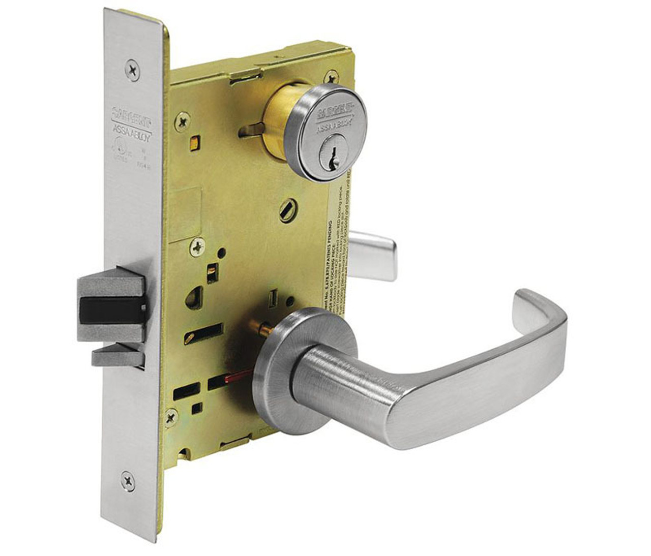 Sargent 8200 Series Satin Chrome Plated Passage or Closet Mortise Lock with L Lever 8215 LNL 26D LN Rose Trim Pack of 1