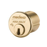 "1-1/8"" Medeco 10-0200-605 High Security Mortise Cylinder Polished Brass"