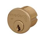 """Medeco 10-0200-606 1-1/8"""" High Security Mortise Cylinder Satin Brass"""