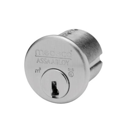 "1-1/4"" Medeco 10-0500-26D High Security Mortise Cylinder Satin Chrome"