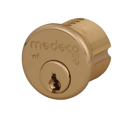 """1-1/4"""" Medeco 10-0500-606 High Security Mortise Cylinder Satin Brass"""