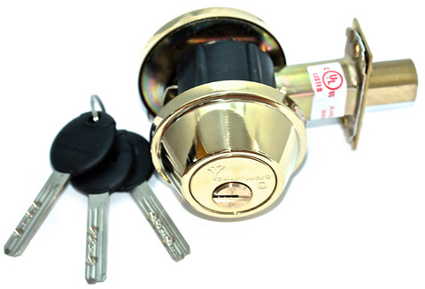 Mul-T-Lock 008J-MD2-05-D Junior Double Cylinder Deadbolt Bright Brass