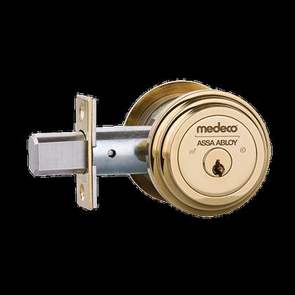 """Medeco M3 11TR604 2-3/4"""" Backset Maxum Residential Single Cylinder Deadbolt Bright Brass"""