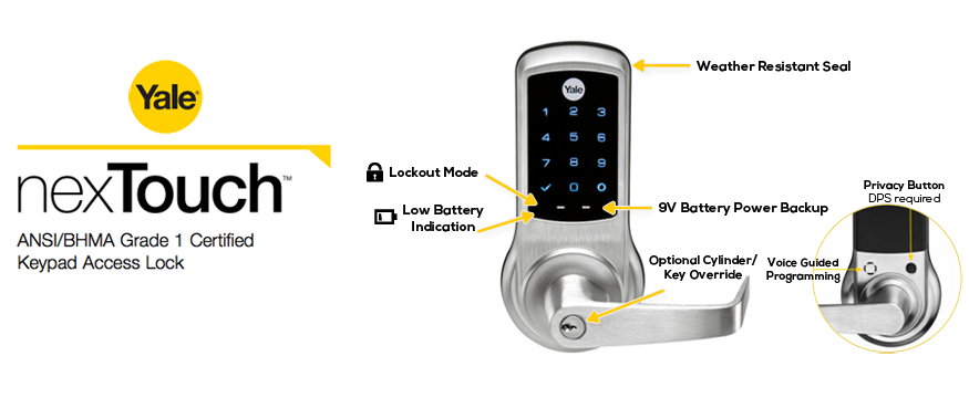 Yale nexTouch Touchscreen Combination Lever Lock