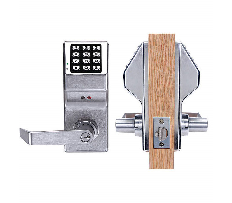 Alarm Lock DL5300 US26D Double Sided Pushbutton Cylindrical Lock  Weatherproof Straight Lever