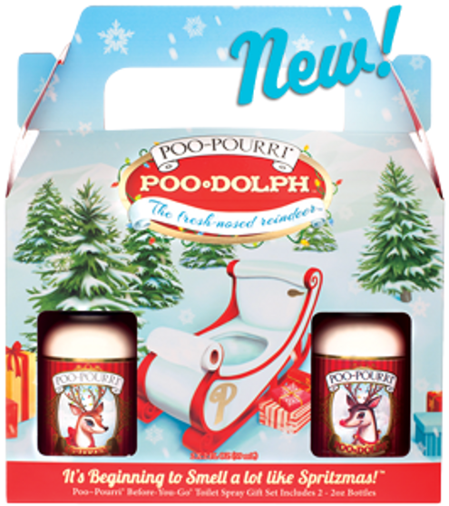 It's Beginning to Smell a lot like Spritzmas! This holiday gift set includes a 2oz Poo-Dolph and a 2oz Spritzen Before-You-Go Toilet Spray.