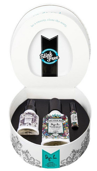 Hilariously packaged to guarantee giggles—and results!   The Potty Box is the gift they'll remember, for the smell they'd rather forget!  Everybody does it—it's only natural! Don't let something as silly as bathroom odor hold you back. Take a shift and transform your bathroom experience with Poo~Pourri Before-You-Go Toilet Spray—a pure blend of natural essential oils that creates an odor-trapping barrier on the surface of the water, stopping odor BEFORE it begins...seriously!  Gift set contains: 4oz Deja Poo, 1.4oz Lavender Vanilla and 4mL Original Citrus