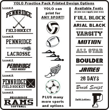 Some of the design options available for your Pack
