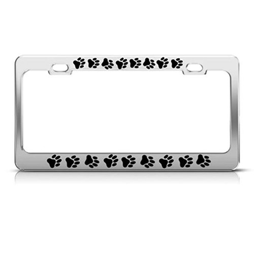 Speedy Pros Dog Paw Paws Print Animal License Plate Frame Stainless Metal Tag Holder