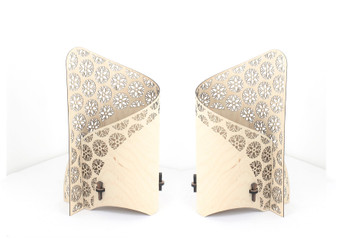Flower of Life 'Source' pair of wrap lamps designed and made by Cameron Furniture,  Isle of Purbeck, Dorset