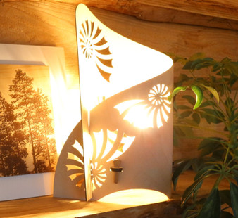 'Ammonite'  left side wrap lamp , designed and made by Cameron Furniture, Isle of Purbeck, Dorset over 20 years of homeware design