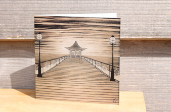 Swanage Pier in Sepia - Greeting Card