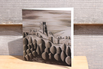 Corfe Castle in Sepia - Greeting Card