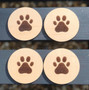 Paw Print Coaster Set of 4 in Maple