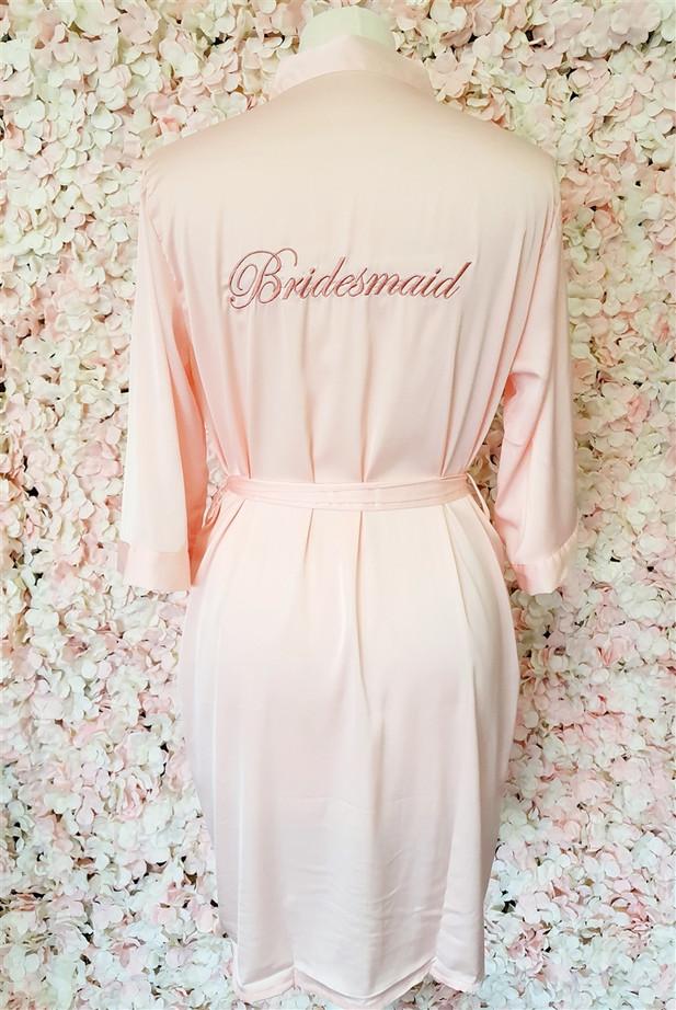 Bridesmaid Blush Satin Robe with Rose Gold Writing
