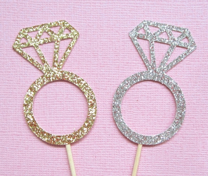 Cup Cake Picks, Ring, Silver or Gold (10)
