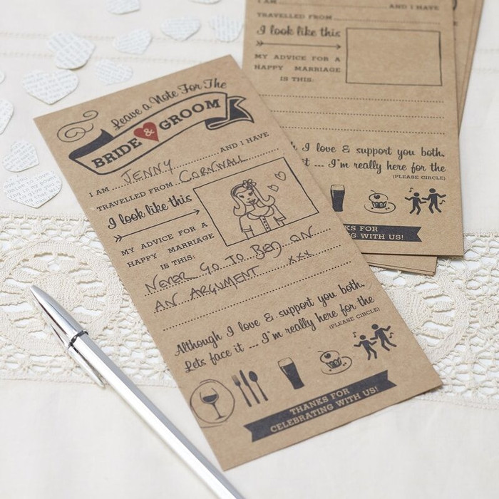 Rustic Advice Cards for the Bride & Groom