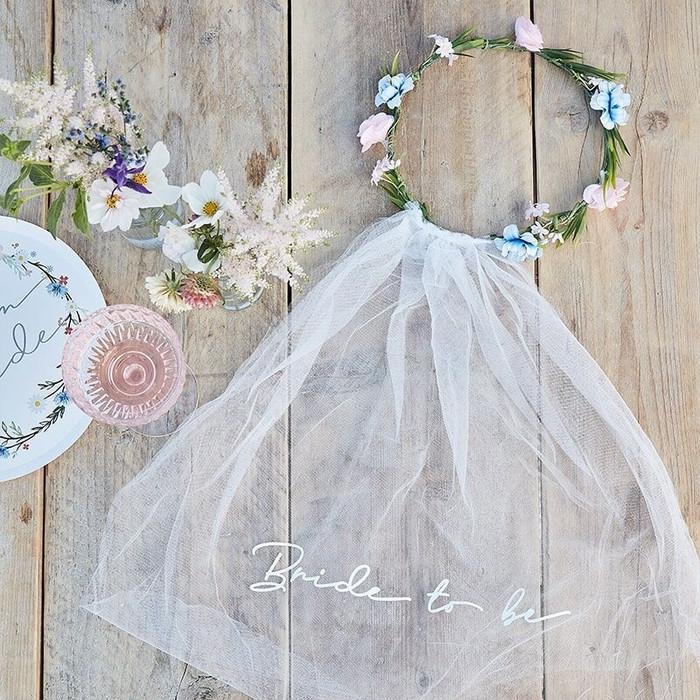 Hen Party Floral Veil - Boho