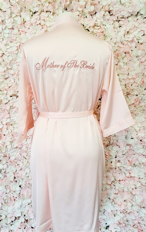 Mother of the Bride Blush Satin Robe with Rose Gold Writing