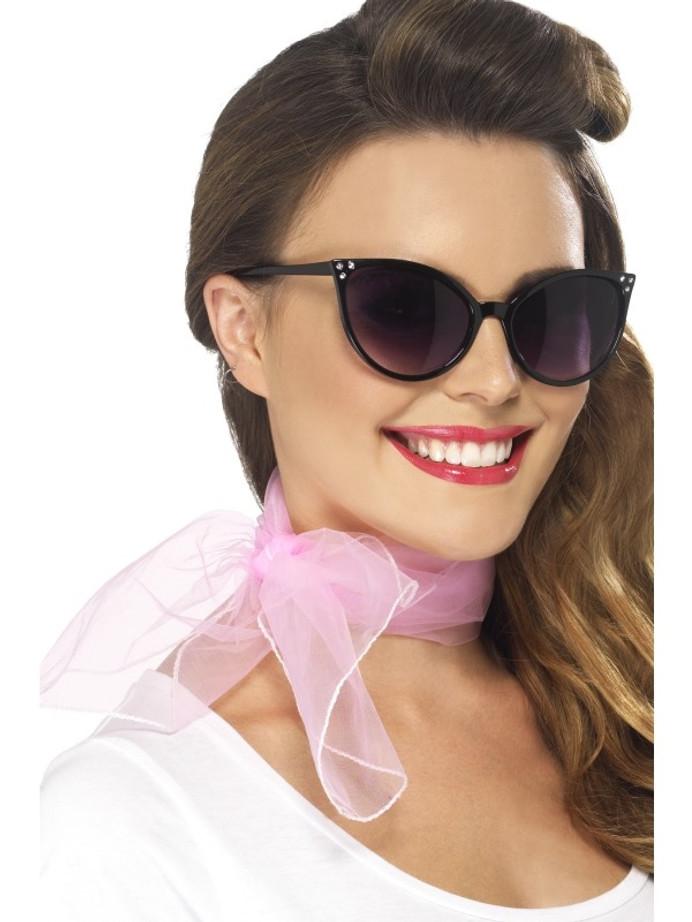 50's Neck Scarf, Pink, Chiffon Style