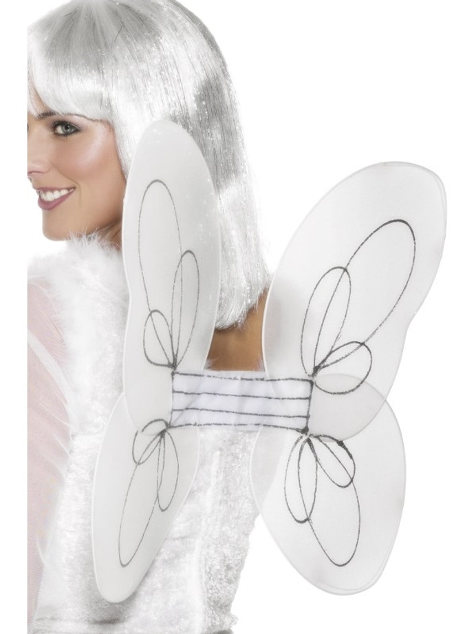 Wings, Angel Glitter Wings, White and Silver