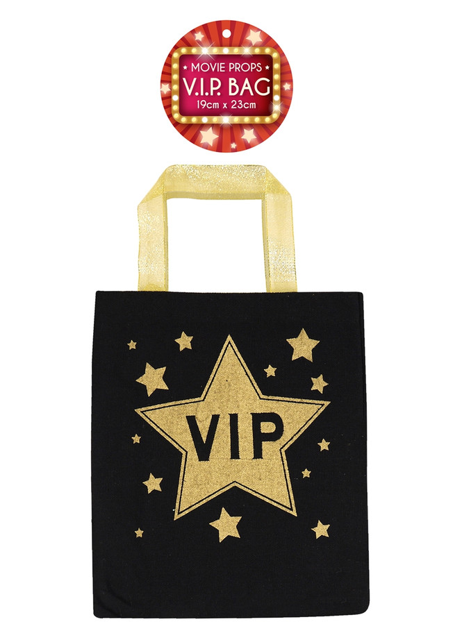 VIP Black Party Bag with Gold Handles, 19cm by 23cm