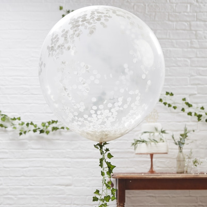 """Large 3 White Confetti Orb Balloons - 36"""""""