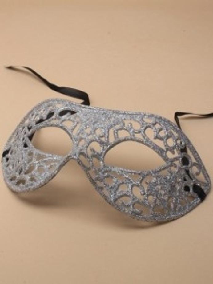 Mask Eye Silver Glitter Filligree Masquerade