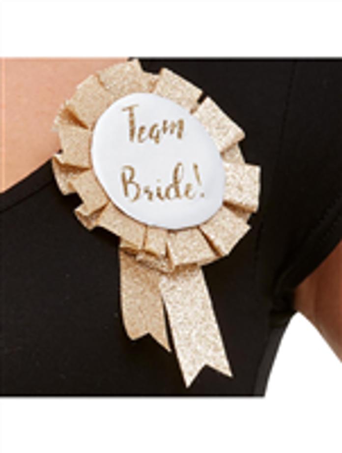 Team Bride Glitter Gold Rosette